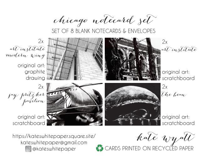 Chicago notecards by artist Kate Wyatt