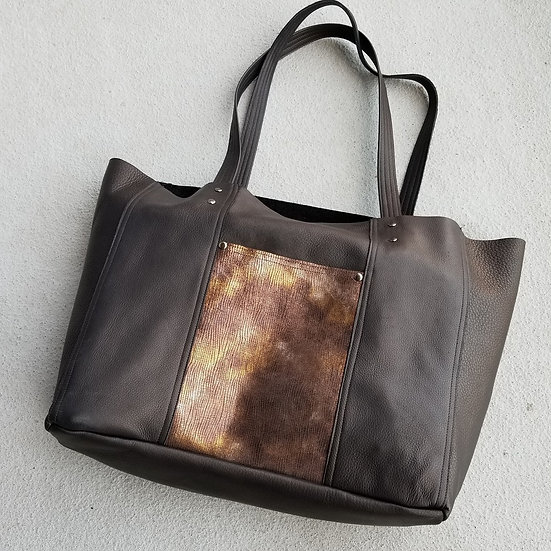 Large Black Leather 3 Pocket Tote