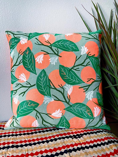 Oranges and Leaves Throw Pillow