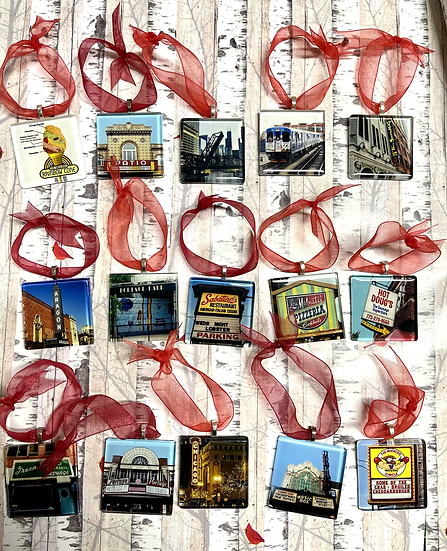Chicago themed glass ornaments