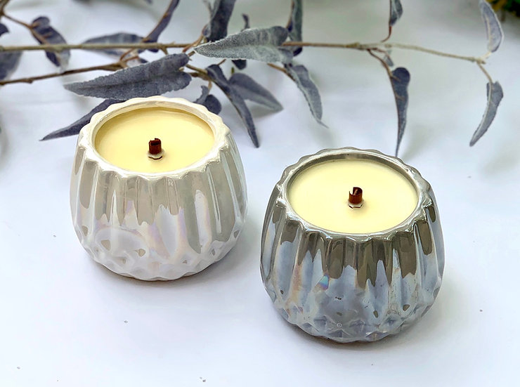 Iridescent Jar Candle w/ Round Wooden Wick