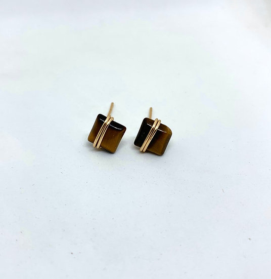 Square Wire Wrapped Gemstone Studs