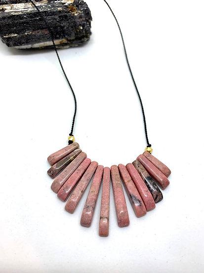 Gemstone Necklace, Rhodochrosite necklace on silk cord