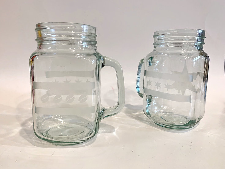 Etched glass mugs, whiskey, wine and pint glasses