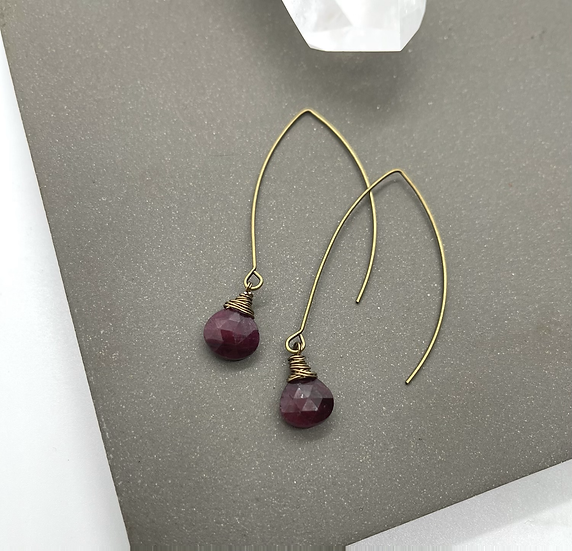 Gemstone earrings, Natural ruby heart drops on bronze