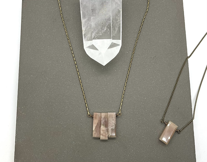 Gemstone necklace, Peach moonstone necklace on bronze chain