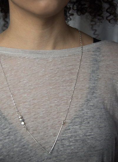 3 pearl necklace, silver, geometric, neutral, gray, lightweight, modern