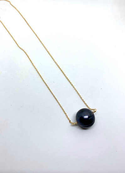 Gemstone Necklace, Black single pearl necklace