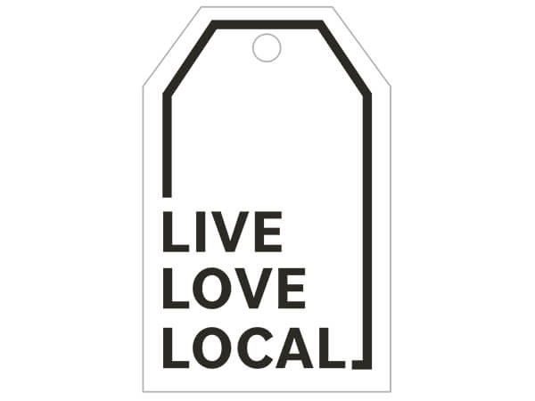 "Live, Love, Local / Holiday Cardinal Gloss Printed Gift Tags, 2-1/4""x3-1/2"""