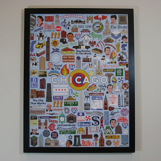 Chicago icons poster print