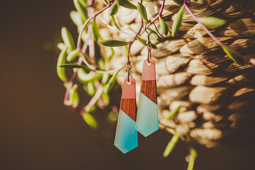 Angelica Resin Jewelry, Resin, Resin Earrings, Wooden Earrings