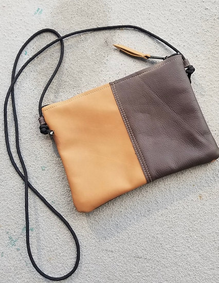 Andi Two-Tone Leather Zipper Bag
