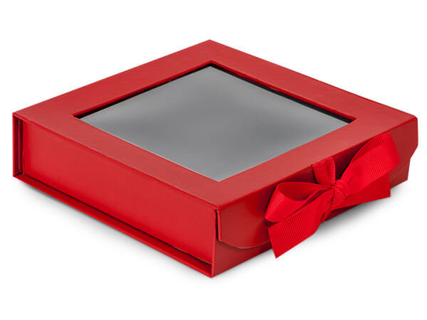 "Folding Boxes with Window and Ribbon Closure 6""x6""x1.5"""