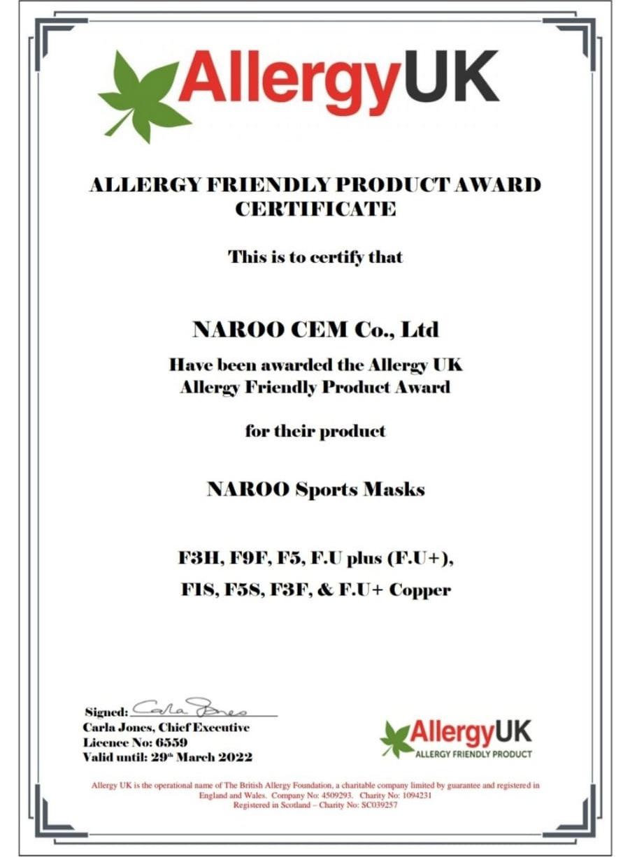 Certificado de Allergy UK que aprueba los barbijos deportivos de Naroo como aptos para personas alérgicas