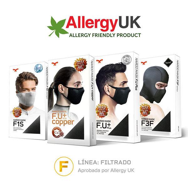 Línea Filtrado de mascarillas deportivas aprobadas por Allergy UK como aptas para personas con alergia.