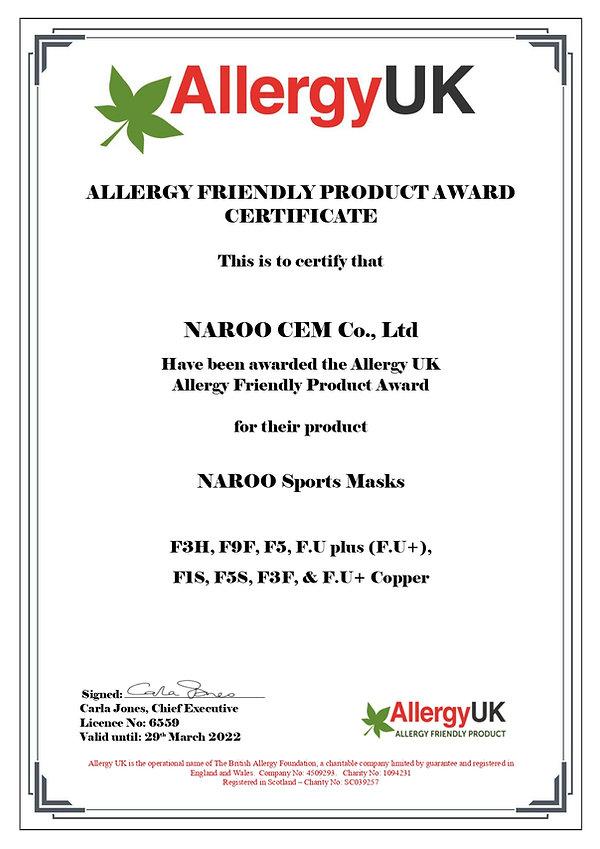 Certificado de Allergy UK para las mascarillas deportivas de la línea filtrado, aptas para personas alérgicas