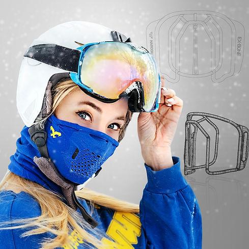 Tapaboca de invierno con exoesqueleto que evita que se empañen los lentes