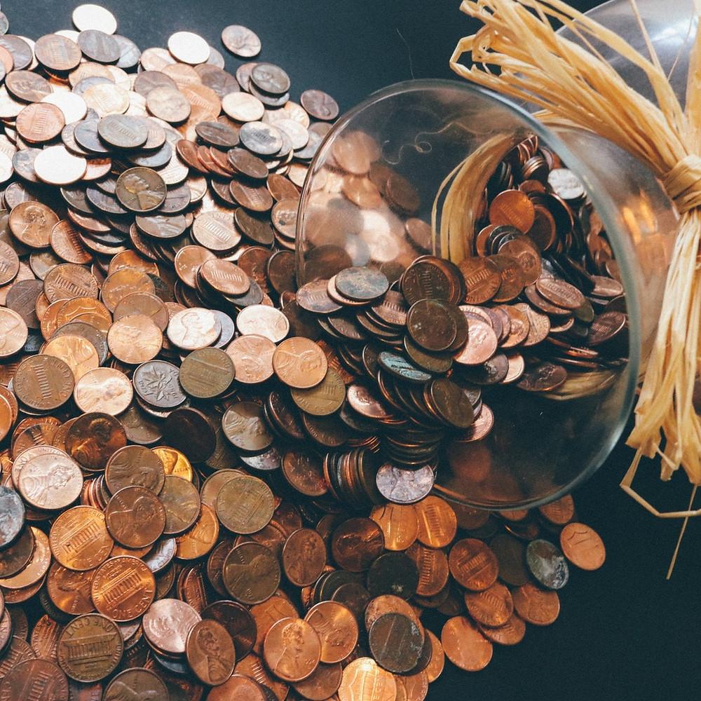 Pennies, spilling, coins, jar, spill