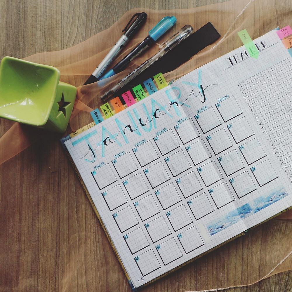 calendar, january, postings, sticky notes