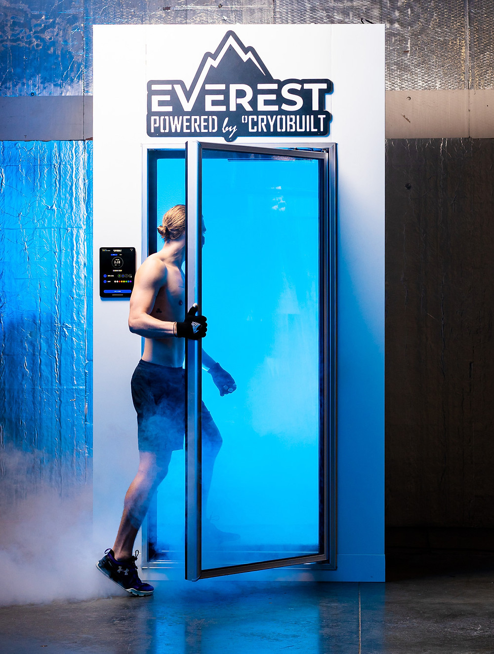 cryotherapy, chamber, man, walking in