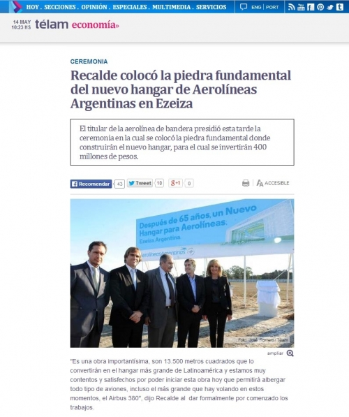 Recalde coloca la piedra fundamental