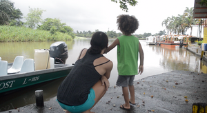 Makai and his mom on the river heading to Tortuguero, Costa Rica
