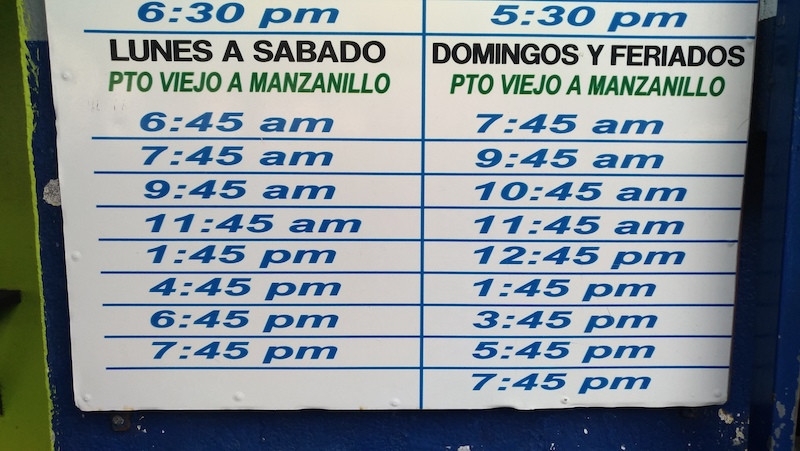 Bus Schedule - Puerto Viejo to Manzanillo March 2019