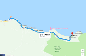Walking from Puerto Viejo to Manzanillo