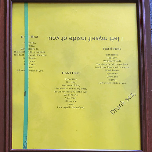 Hotel Heat Framed Poetry from Poetry Book Blessings in Disguise
