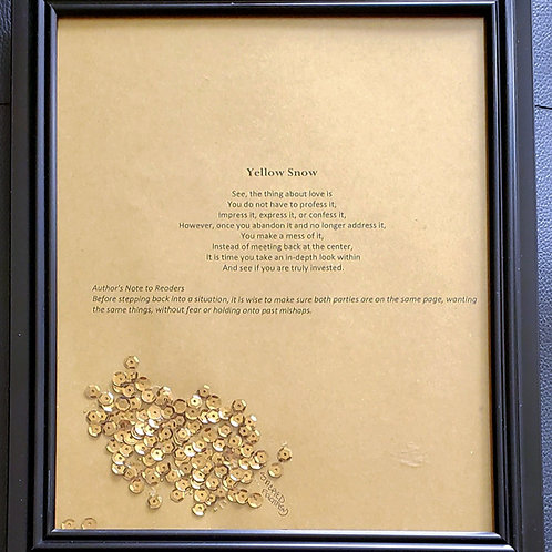 Yellow Snow Framed Poetry from Book Blessings in Disguise