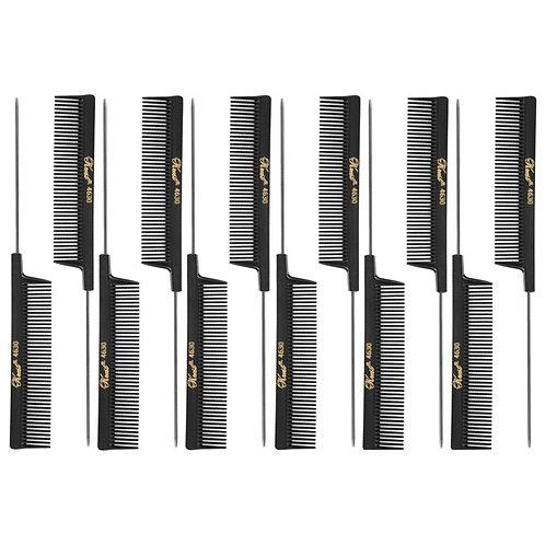 """Krest 4630 8"""" Weave Foiling Coarse Rattail Hair Comb 12pk"""
