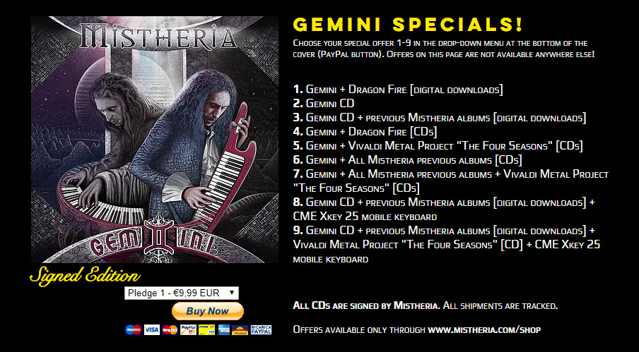 Mistheria GEMINI album special web offers