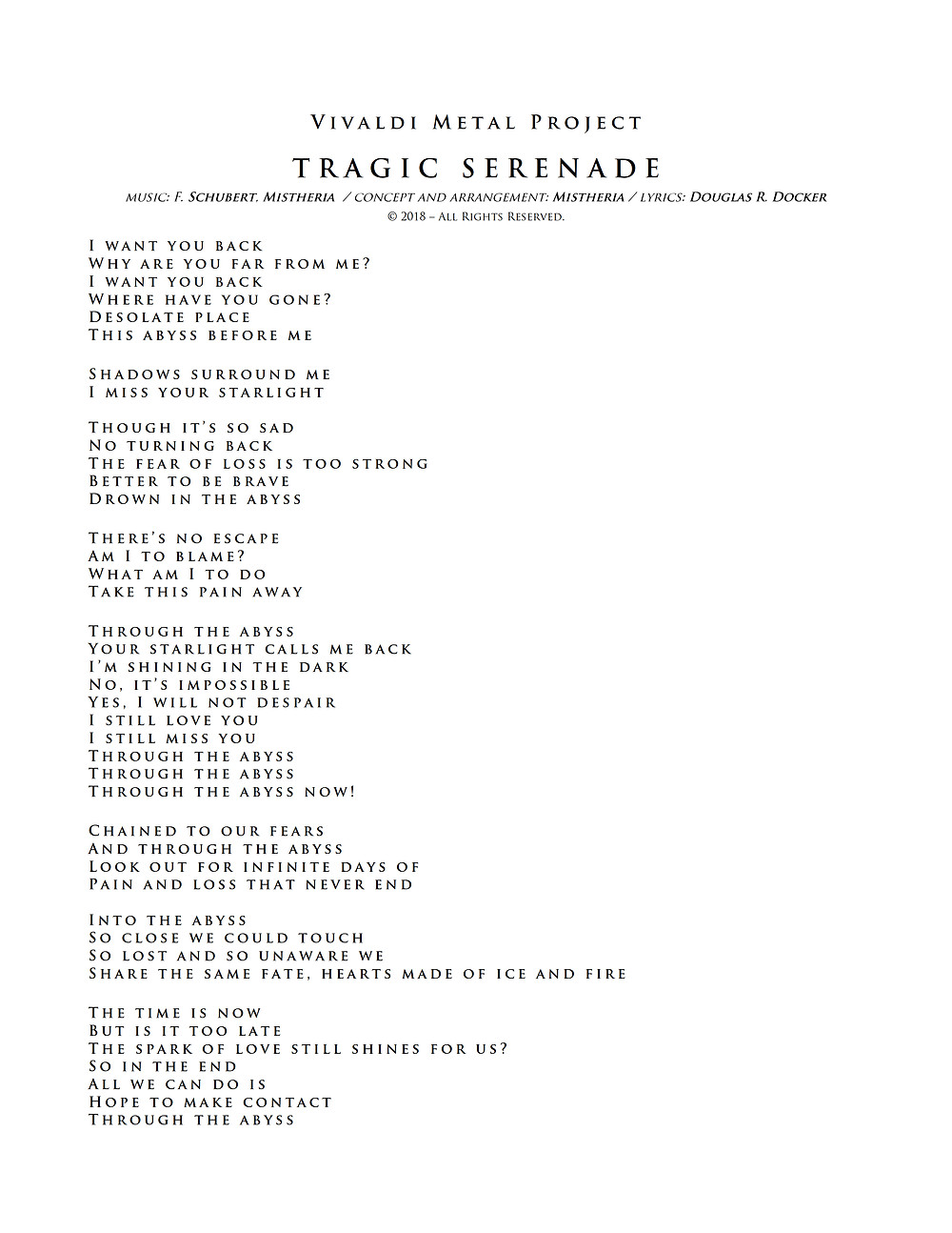 Vivaldi Metal Project - Tragic Serenade - Lyrics
