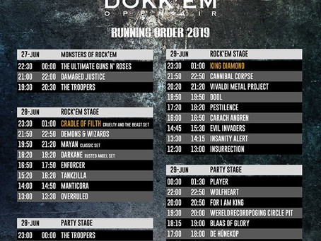 Dokk'em Open Air 2019 running order