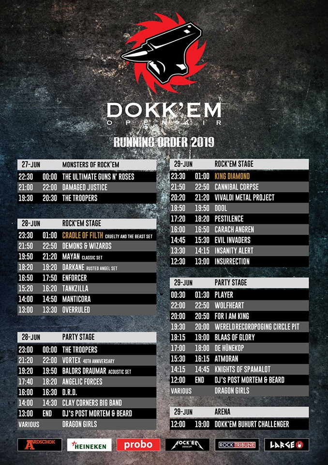 Dokkem Open Air 2019 running order
