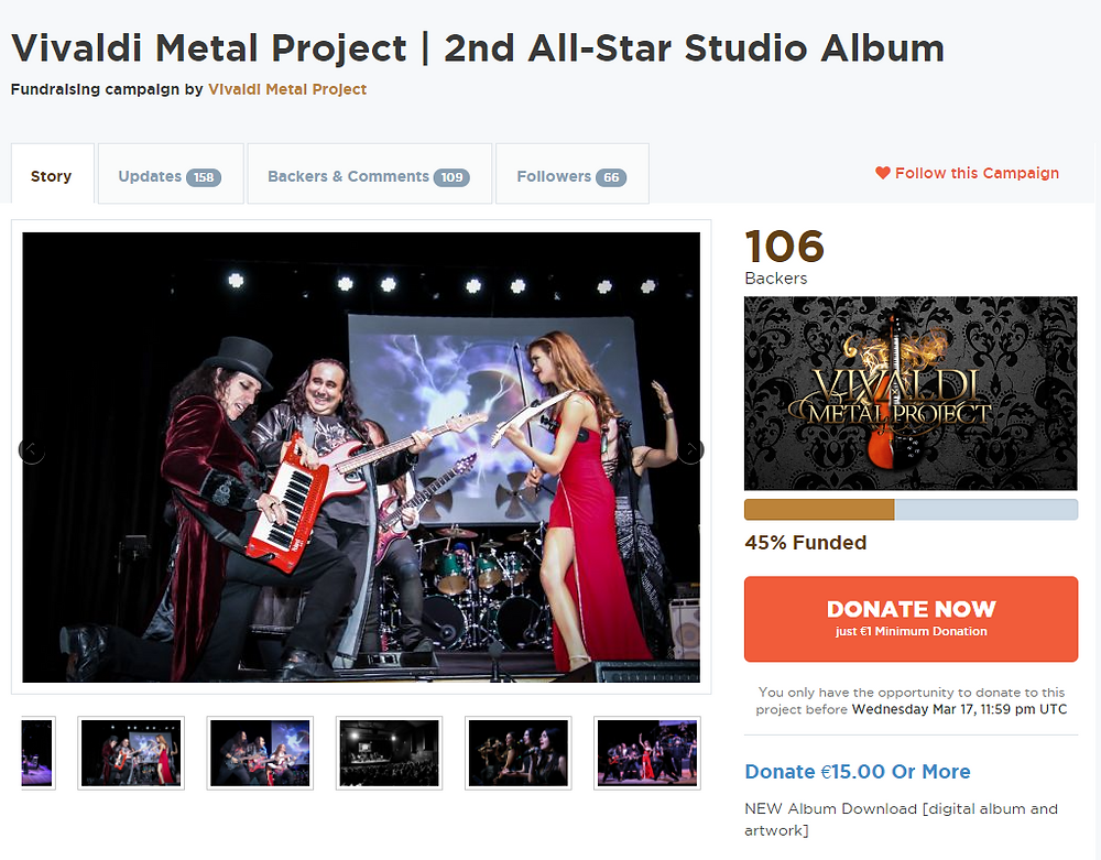 Vivaldi Metal Project crowdfunding campaign running on GoGetFunding