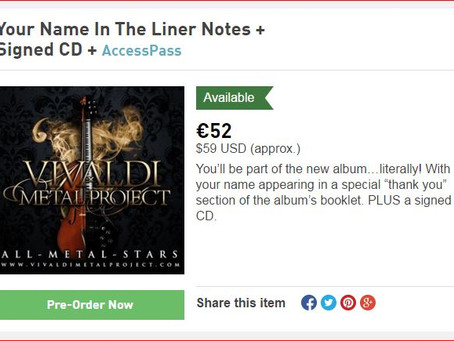 Only few days left!! Your Name In The Booklet of the Vivaldi Metal Project album