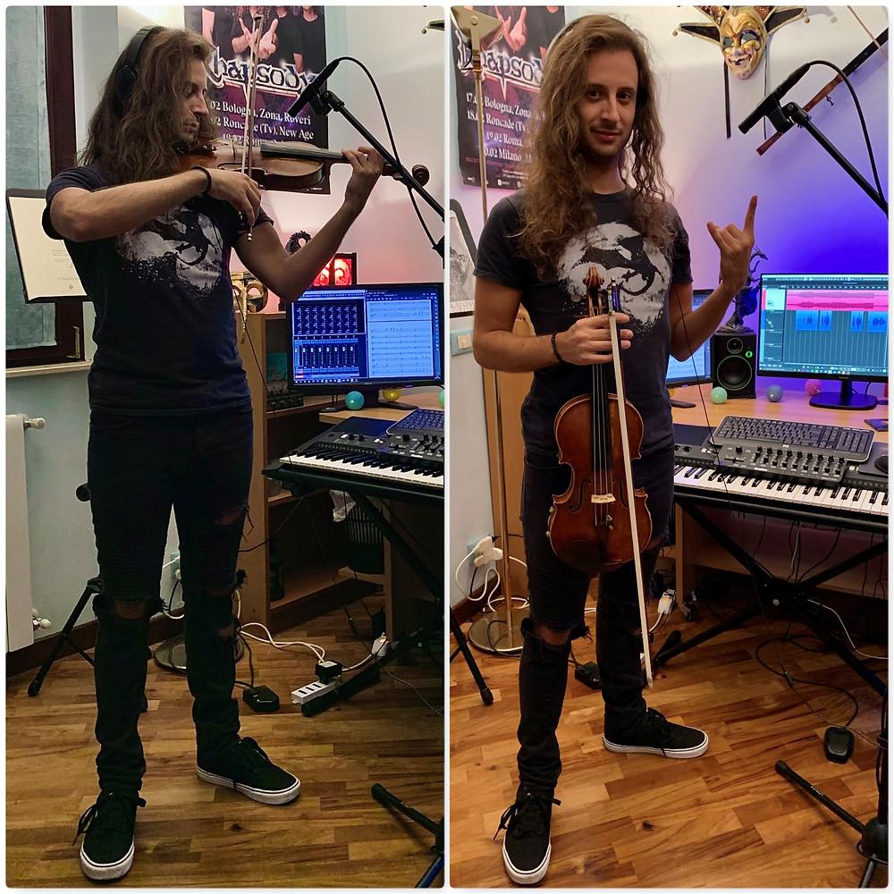 Gabriele Boschi violin recording session Vivaldi Metal Project 2