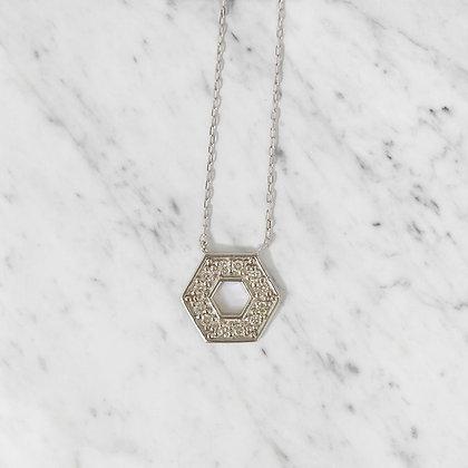 White Gold Hexagon Pendant