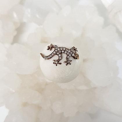 White Onyx Lizard Ring