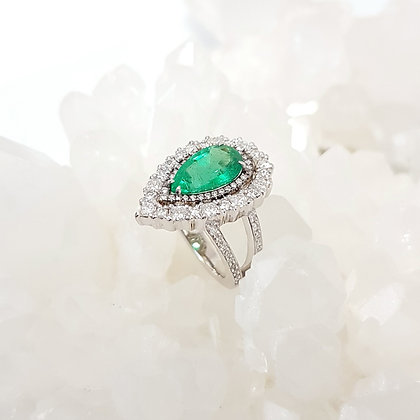 Pear Shaped Zambian Green Emerald Ring