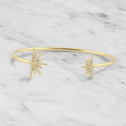 Yellow Gold Starburst Bangle
