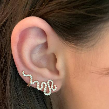 Diamond Snake Ear Cuff