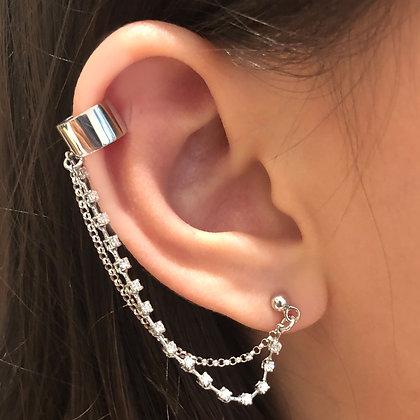 Diamond Chain and Bar Ear Cuff