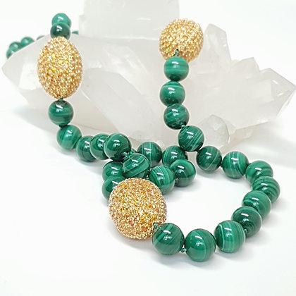 Malachite and Yellow Sapphire Necklace