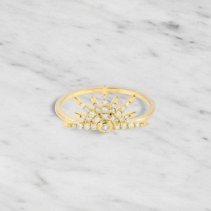 Yellow Gold Half Starburst Ring