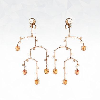 Orange Sapphire and Pearl Earrings