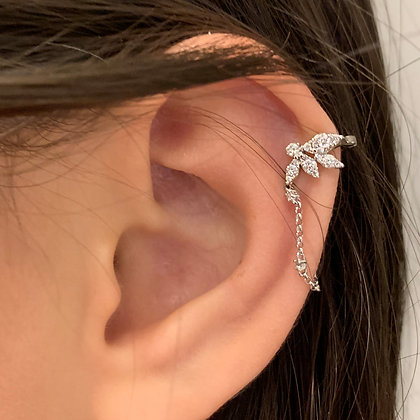 White Gold Diamond Ear Cuff with Chain