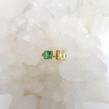 Green Emerald and Yellow Sapphire Ring
