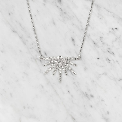 White Gold Starburst Pendant with Chain